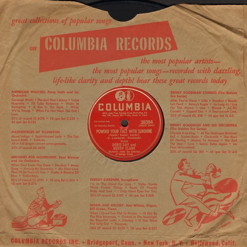 Day, Doris & Buddy Clark - Powder Your Face With Sunshine/I'll String Along With You (10 inch 78 rpm record with Columbia company sleeve) - EX8/ - 78 rpm