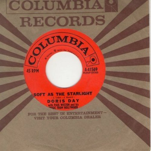 Day, Doris - Soft As The Starlight/Anyway The Wind Blows (with vintage Columbia company sleeve) - NM9/ - 45 rpm Records