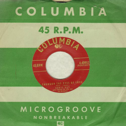 Day, Doris - Through The Eyes Of Love/Nothing In The World (with vintage Columbia company sleeve) - EX8/ - 45 rpm Records
