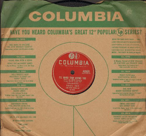 Day, Doris - I'll Never Stop Loving You/Never Look Back (from film -Love Me Or Leave Me-) (RARE 10 inch 78rpm record in NICE condition with Columbia company sleeve) - NM9/ - 78 rpm