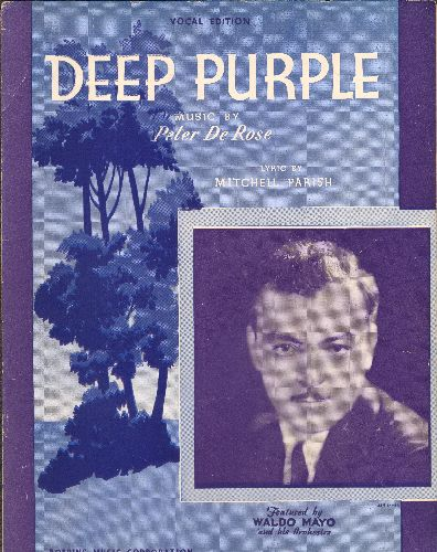 Mayo, Waldo & His Orchestra - DEEP PURPLE - Vintage SHEET MUSIC for the standard recorded by many artists. Cover art features Orchestra Leader Waldo Mayo. - EX8/ - Sheet Music