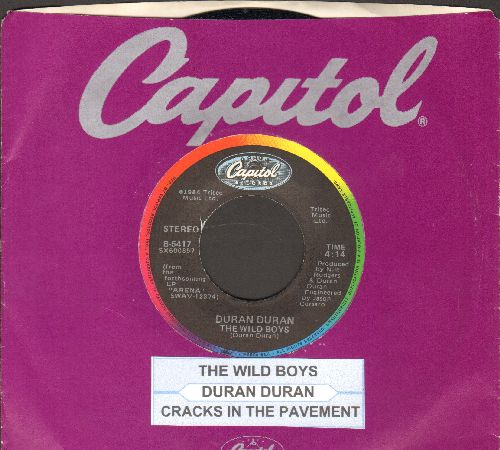 Duran Duran - The Wild Boys/Cracks In The Pavement (with Capitol company sleeve and juke box label) - EX8/VG7 - Maxi Singles