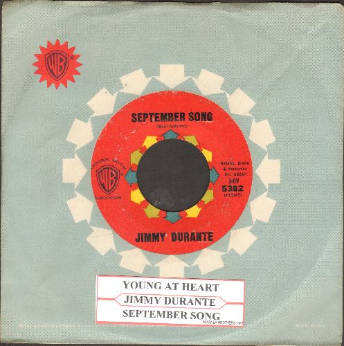 Durante, Jimmy - September Song/Young At Heart (with vintage Warner Brothers company sleeve and juke box label) - EX8/ - 45 rpm Records