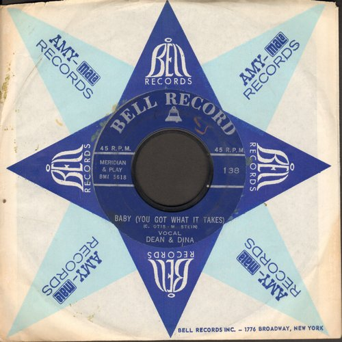 Dean & Dina - Baby (You Got What It Takes)/Where Or When (by The Everglades on flip-side) (contemporary cover versions with Bell company sleeve) (wos) - VG7/ - 45 rpm Records
