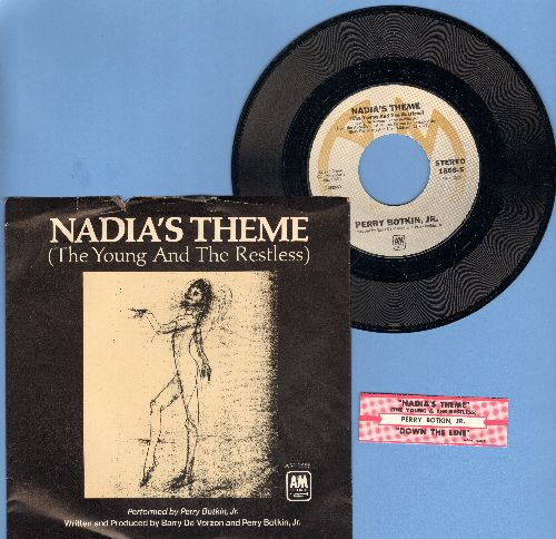 De Vorzon, Barry & Perry Botkin Jr. - Nadia's Theme (The Young And The Restless)/Down The Line (with picture sleeve, NICE condition!) - M10/EX8 - 45 rpm Records