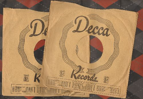 Company Sleeves - 10 inch vintage Decca company sleeves (exactly as pictured), 2 for the price of 1! Enhances and protects you collectable 10 inch 78 rpm record!  - /EX8 - Supplies