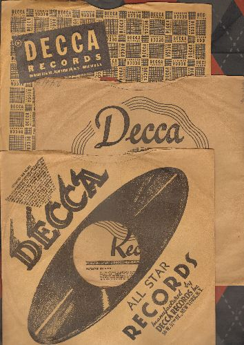 Company Sleeves - 3 vintage 10 inch DECCA Company sleeves (exactly as pictured) for 78 rpm records. Nice touch to display and store your collectible 78 rpm records! - EX8/ - Supplies