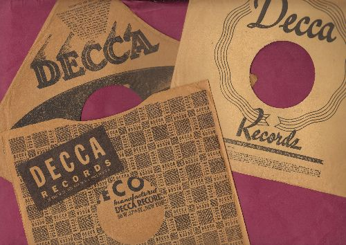 Company Sleeves - 3-Pack 10 inch vintage Decca company sleeve (exactly as pictured), shipped in 10 inch clear plastic sleeve. Enhances and protects you collectable 10 inch 78 rpm record!   - /EX8/EX8 - Supplies