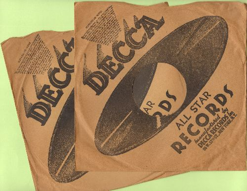 Company Sleeves - 2 Vintage 10 inch Decca company sleeves for 78 rpm records for the price of 1! - /EX8 - Supplies