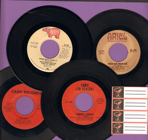 Umiliani, Piero, Ernie, Rick Dees, Dickie Goodman - 70s Novelty 4-Pack: First pressing 45s includes hits Mah-Na-Man-Na, Rubber Duckie, Mr. Jaws and Disco Duck, shipped in plain white paper sleeves with blank juke box labels. - VG7/ - 45 rpm Records