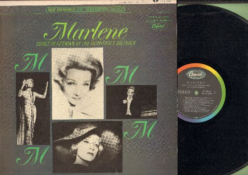 Dietrich, Marlene - Marlene - Songs in German by the Inimitable Dietrich: Ich werde dich lieben, Paff der Zauberdrachen, Der Trommelmann (vinyl STEREO LP record, US pressing, sung in German) - EX8/EX8 - LP Records
