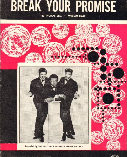 Delfonics - Break Your Promise - RARE Vintage SHEET MUSIC for the Delfonics Hit. NICE cover art featuring the1960s R&B Group! - EX8/ - Sheet Music