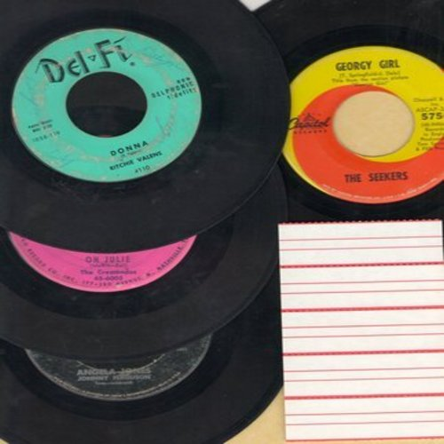 Valens, Ritchie, Crescendos, Johnny Ferguson, Seekers - Rock & Roll Girls 4-Pack: First issue 45s featuring famous girl names, all in very good or better condition. Hits include Donna, Georgy Girl, Angela Jones and Oh Julie. Shipped in plain white paper s