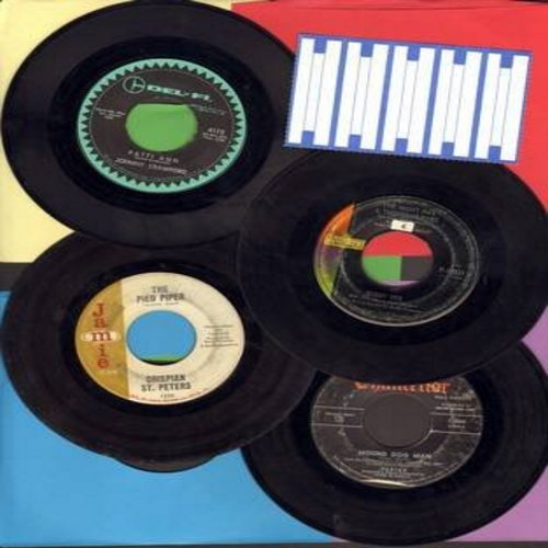 Crawford, Johnny, Fabian, Bobby Vee, Chrispian St. Peters - Teen Idol 4-Pack: 4 original first issue 45s by 1950's & 60s Teen Idols. Records are in very good or better condition and ship in plain white sleeves with a strip of 5 blank juke box labels. Hits