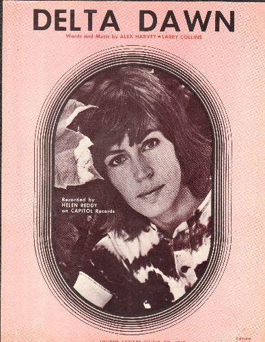 Reddy, Helen - Delta Dawn - Vintage SHEET MUSIC featuring beautiful portrait of a young Helen Reddy - EX8/ - Sheet Music