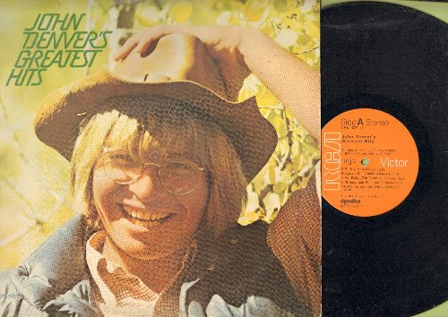 Denver, John - John Denver's Greatest Hits: Leaving On A Jet Plane, Take Me Home Country Roads, Sunshine On My Shoulders (Vinyl STEREO LP record) - EX8/EX8 - LP Records