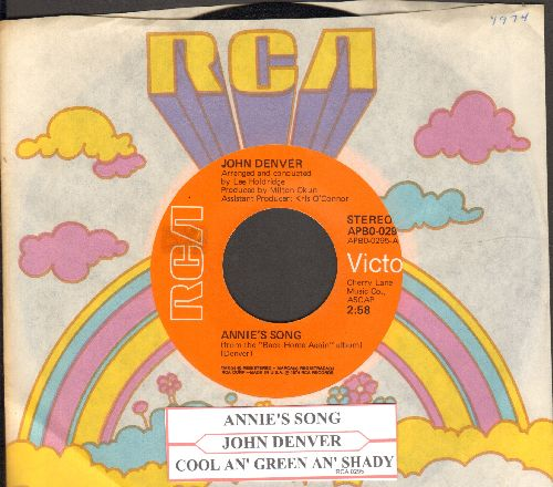 Denver, John - Annie's Song (You Fill Up My Senses)/Cool An' Green An' Shady (with RCA company sleeve and juke box label) - NM9/ - 45 rpm Records
