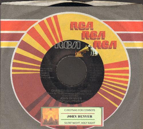 Denver, John - Christmas For Cowboys/Silent Night, Holy Night (with RCA company sleeve and juke box label) - NM9/ - 45 rpm Records