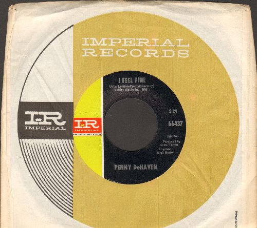 DeHaven, Penny - I Feel Fine (Country Version of Beatles Classic)/Stop And Go (with Imperial company sleeve) - NM9/ - 45 rpm Records