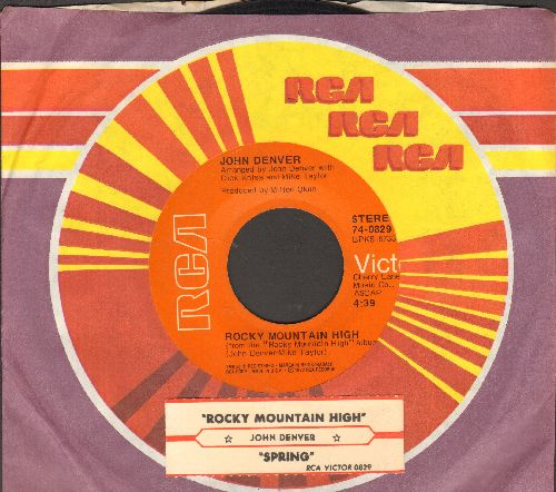 Denver, John - Rocky Mountain High/Spring (with juke box label and RCA company sleeve) - EX8/ - 45 rpm Records