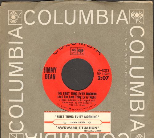 Dean, Jimmy - The First Thing Ev'ry Morning (And The Last Thing Ev'ry Night)/Awkward Situation (with juke box label and Columbia company sleeve) - NM9/ - 45 rpm Records