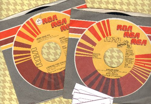 Denver, John - 2 DJ advance pressing 45rpm records for the price of 1! with RCA company sleeves and 3 blank juke box labels - NM9/ - 45 rpm Records