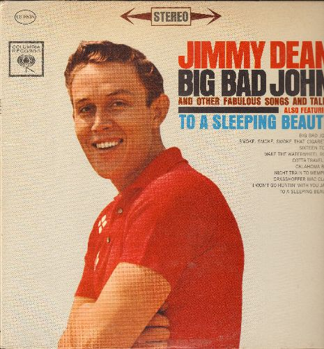 Dean, Jimmy - Big Bad John: Sixteen Tons, Smoke Smoke Smoke That Cigarette, Grasshoper Mac Clain, Night Train To Memphis, To A Sleeping Beauty (Vinyl STEREO LP record) - EX8/EX8 - LP Records