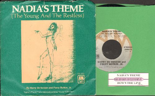 De Vorzon, Barry & Perry Botkin Jr. - Nadia's Theme (The Young And The Restless)/Down The Line (with picture sleeve and juke box label) - M10/EX8 - 45 rpm Records