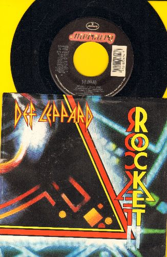 Def Leppard - Rocket (Lunar Mix)/Women (LIVE) (with picture sleeve) - NM9/EX8 - 45 rpm Records