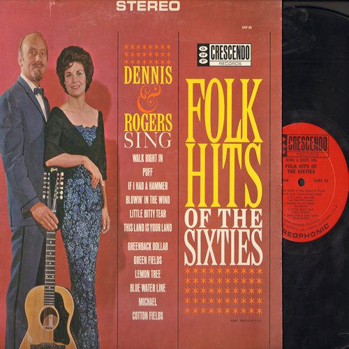 Dennis & Rogers - Folk Hits Of The Sixties: Walk Right In, Puff The Magic Dragon, Blowin' In The Wind, If I Had A Hammer, Greenback Dollar (Vinyl STEREO LP record) - NM9/EX8 - LP Records