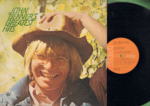 Denver, John - John Denver's Greatest Hits: Sunshine On My Shoulders, Leaving On A Jet Plane, Take Me Home Country Roads, Rocky Mountain High (Vinyl LP record) (orange label) - NM9/EX8 - LP Records