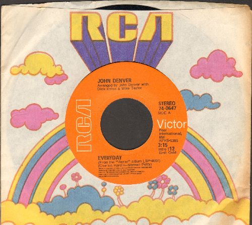 Denver, John - Everyday (VERY Pleasant cover version of Buddy Holly Classic)/City Of New Orleans (with RCA company sleeve) - EX8/ - 45 rpm Records