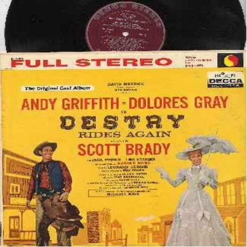 Griffith, Andy, Dolores Gray, Scott Brady, others - Destry Rides Again - Original Broadway Cast Recording (Vinyl STEREO LP record, burgundy label first issue) - NM9/NM9 - LP Records
