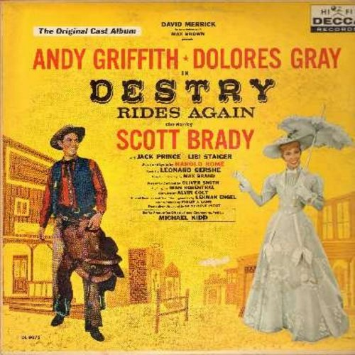 Griffith, Andy, Dolores Gray, Scott Brady, others - Destry Rides Again - Original Broadway Cast Recording (Vinyl MONO LP record, burgundy label first issue) - EX8/EX8 - LP Records