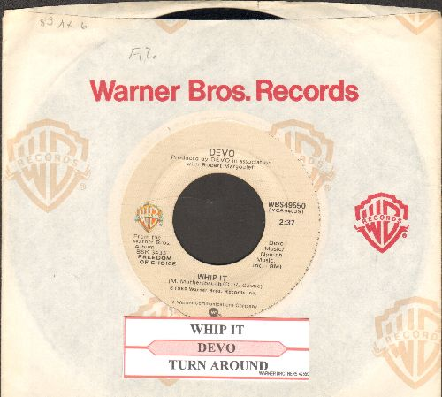 Devo - Whip It/Turn Around (with juke box label and company sleeve) - EX8/ - 45 rpm Records