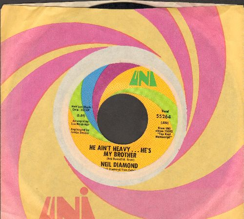 Diamond, Neil - He Ain't Heavy…He's My Brother/Free Life (with Uni company sleeve) - NM9/ - 45 rpm Records