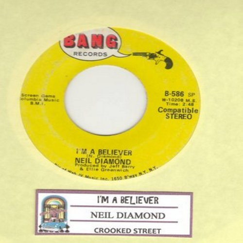 Diamond, Neil - I'm A Believer/Crooked Street - VG7/ - 45 rpm Records