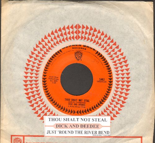 Dick & Dee Dee - Thou Shalt Not Steal/Just 'Round The River Bend (with juke box label and vintage Warner Brothers company sleeve) - EX8/ - 45 rpm Records