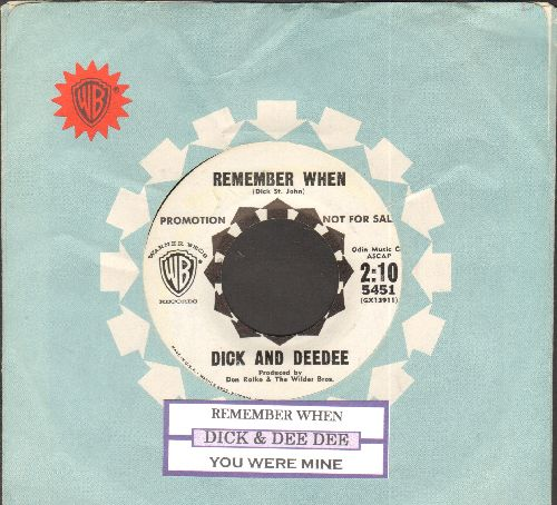 Dick & Dee Dee - Remember When/You Were Mine (RARE DJ advance pressing with juke box label and Warner Brothers company sleeve) - NM9/ - 45 rpm Records