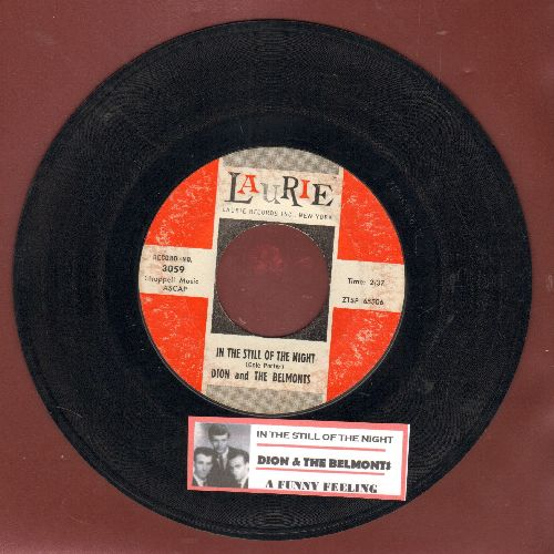 Dion & The Belmonts - In The Still Of The Night/A Funny Feeling (with juke box label) - EX8/ - 45 rpm Records