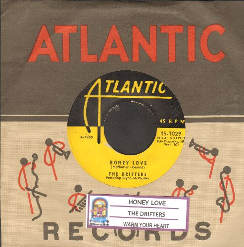 Drifters - Honey Love/Warm Your Heart (yellow label early issue with juke box label and RARE Atlantic company sleeve) - VG7/ - 45 rpm Records