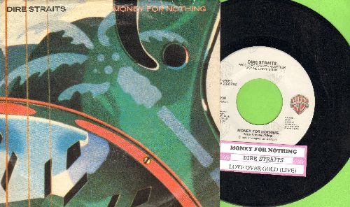 Dire Straits - Money For Nothing/Love Over Gold (LIVE) (with picture sleeve and juke box label) - NM9/EX8 - 45 rpm Records