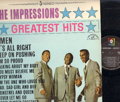 Impressions - Greatest Hits: Amen, It's All Right, Keep On Pushing, I'm So Proud, Talking About My Baby (vinyl STEREO LP record) - EX8/EX8 - LP Records
