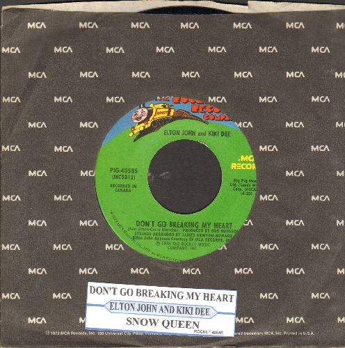 John, Elton & Kiki Dee - Don't Go Breaking My Heart/Snow Queen (MINT condition with juke box label and company sleeve) - M10/ - 45 rpm Records