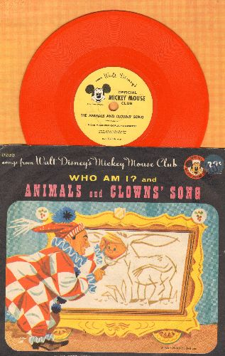 Disney - The Animals And Clowns' Song/Who Am I? (7 inch color vinyl 78 rpm record with picture sleeve) - VG7/VG7 - 78 rpm