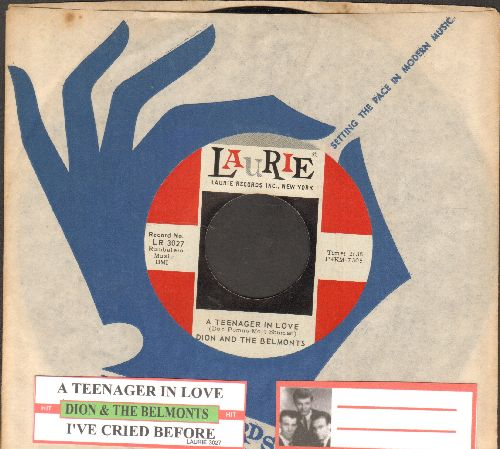 Dion & The Belmonts - A Teenager In Love/I've Cried Before (with juke box label and company sleeve) - NM9/ - 45 rpm Records