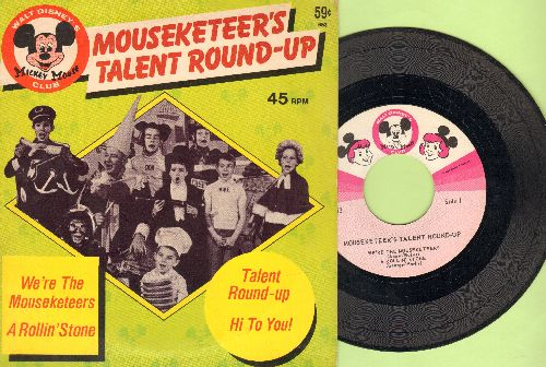 Mouseketeers - Mouseketeer's Talent Round-Up: We're The Mouseketeers \/A Rollin' Stone/Talent Round-Up/Hi To You! (vinyl EP record with picture cover) - EX8/EX8 - 45 rpm Records