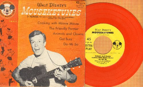 Disney - Walt Disney's Mouseketunes - with Jimmy Dodd & Moueketeers: Cooking With Minnie Mouse/Animals And Clowns + 3 (vinyl EP record with picture cover, label on one side of vinyl record mising) - VG7/EX8 - 45 rpm Records