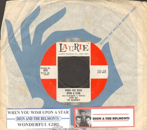 Dion & The Belmonts - When You Wish Upon A Star/Wonderful Girl (with juke box label and vintage Laurie company sleeve) - EX8/ - 45 rpm Records