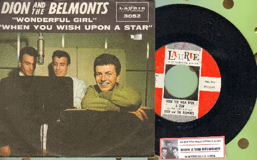 Dion & The Belmonts - When You Wish Upon A Star/Wonderful Girl (with picture sleeve and juke box label) - NM9/EX8 - 45 rpm Records